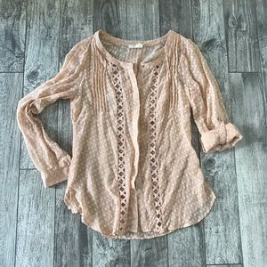 Anthropologie Meadow Rue Peach Polka Dot Blouse